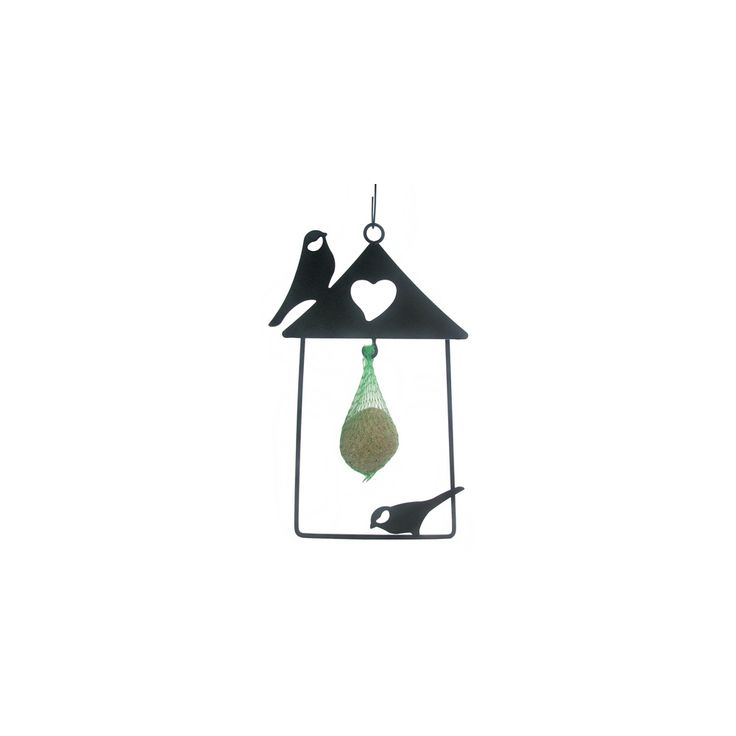 """Frame"" Metal bird feeder for hanging. It can be equipped with suet balls for birds."