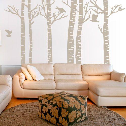 Vinilo Decorativo para una pared entera con motivo de un bosque. Sientete en plena naturaleza desde el sillón de tu casa.
