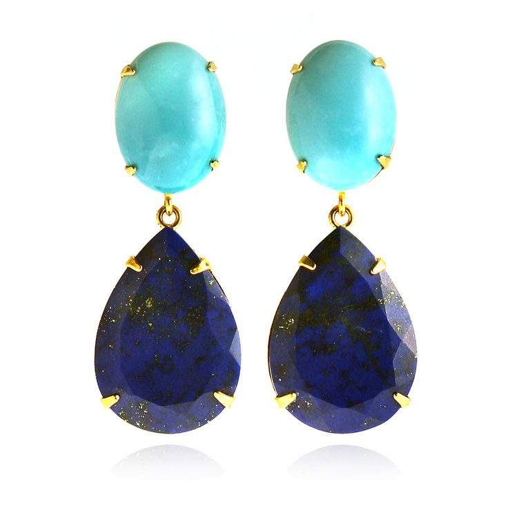 Bounkit  Turquoise and Lapis Drop Earrings
