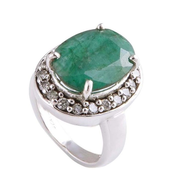 EMERALD & C.Z. 925 STERLING SILVER DESIGNER RING JEWELRY 6.61g R01532 #Handmade #Ring