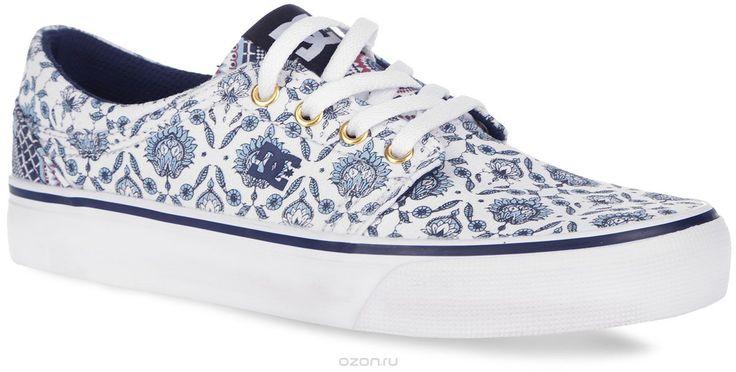 Купить кеды DC Shoes, цвет: белый, темно-синий, голубой. Кеды женские Trase SP. ADJS300090-BUF - цена в интернет-магазине обуви OZON.ru