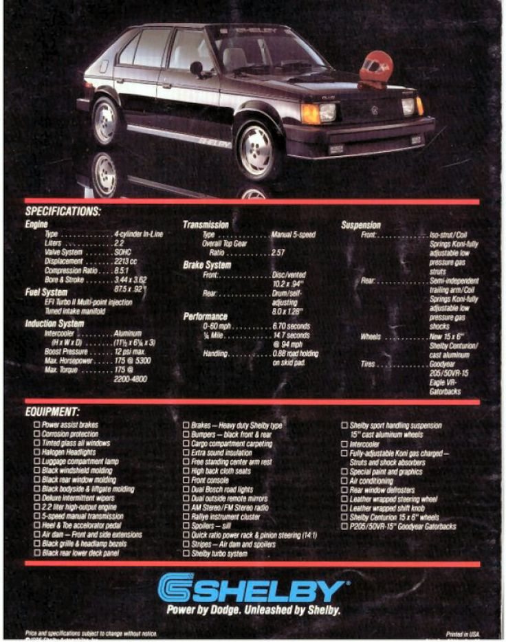 original specs brochure for Omni GLHS (Goes Like Hell, Some-more) #shelby #turbo #dodge | my ...