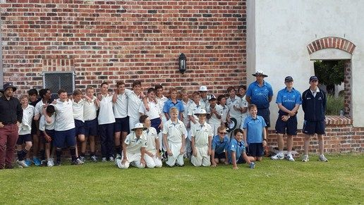 Elkanah House U13 cricket team recently played against a touring team from Lambrook House in the UK.  The afternoon match format of 20 overs ended in a day-night game with the lights being switched on shortly after 18h00 for the boys to enjoy playing light for the last overs.  Elkanah House were victorious winning by 8 runs.  Well done to the team and to Kyle Klein who scored 56 not out.