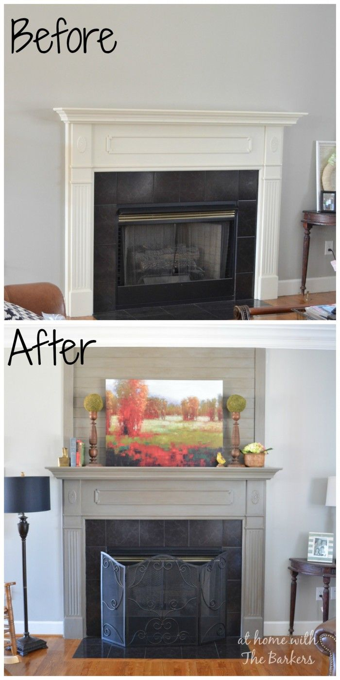 Wood Plank Mantel Makeover #woodplanks #diy #mantel