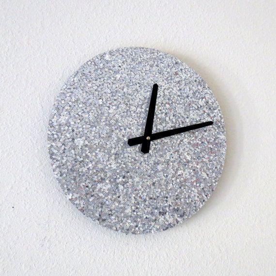 Einzigartige Silber Wall Clock, Wohnkultur, Home und Living, silberne Pailletten, einzigartige Wand Uhren, Dekor & Haushaltswaren, Wand Dekor, einmaliges Geschenk