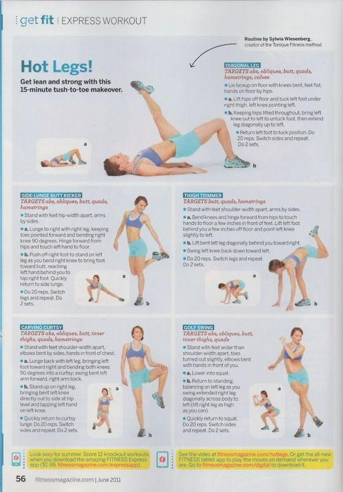 Some new leg exercises to mix things up: - Diagonal leg - Side-lunge butt kicker - Thigh trimmer - Carving curtsy - Golf swing