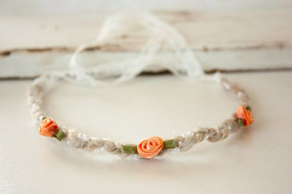 Newborn Headband Tie Back Orange or White by BeautyfromashesUSA