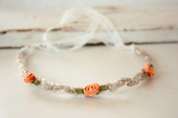 Newborn Headband Tie Back Orange or White by BeautyfromashesUSA