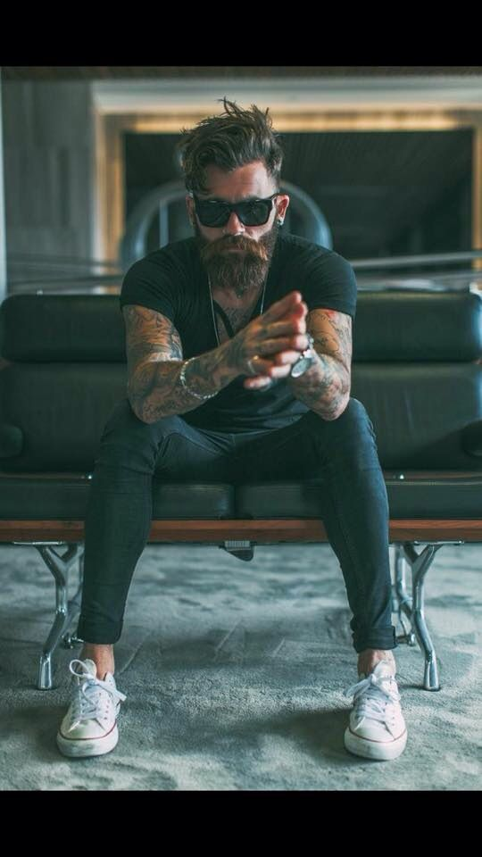 Beard, tattoos, sunglasses
