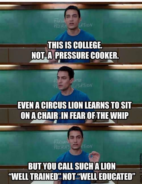 "3 Idiots // Aamir Khan // ""best movie on why colleges should change"" >>""well-trained"" vs. ""well-educated"""