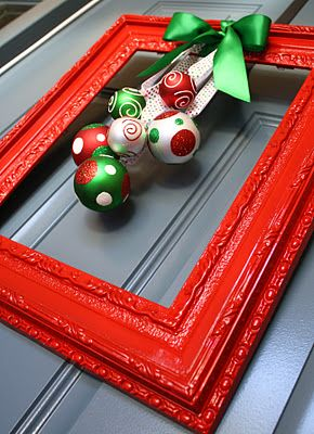 Cute for any season! Find old frames at Goodwill, spray paint and add garnish!  I would add felt pads on the back so wouldn't scratch the door