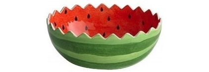 Watermelon Serving Bowl - $34.95 »  This watermelon serving bowl is just adorable. Pile up the fruit salad or icy, vodka-soaked watermelon.