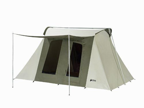 """Kodiak Canvas Flex-Bow Deluxe 8-Person Tent  Made with Hydra-Shield, 100% cotton duck canvas that is durable, watertight and breathable  Spacious 6'6"""" ceiling height provides walk-around comfort  Two large D-shaped doors (front and back) with #10 YKK zippers  Four large windows with no-see-um mesh  Two funnel-flow vents help improve air flow and temperature management"""