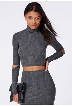Cut Out Elbow Ribbed Jersey Crop Top Grey
