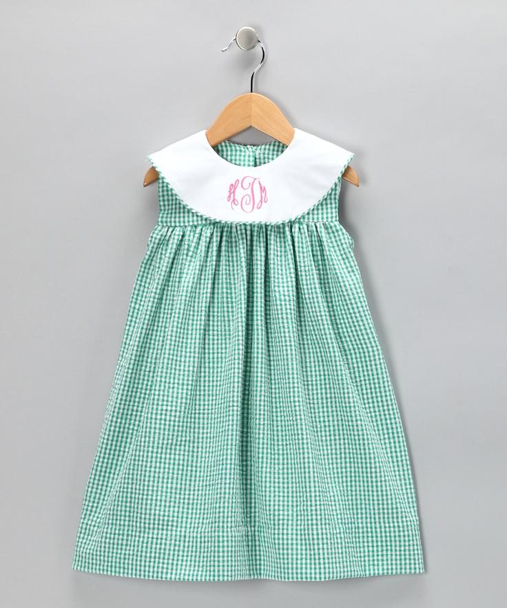 wish upon a star teal seersucker monogram dress