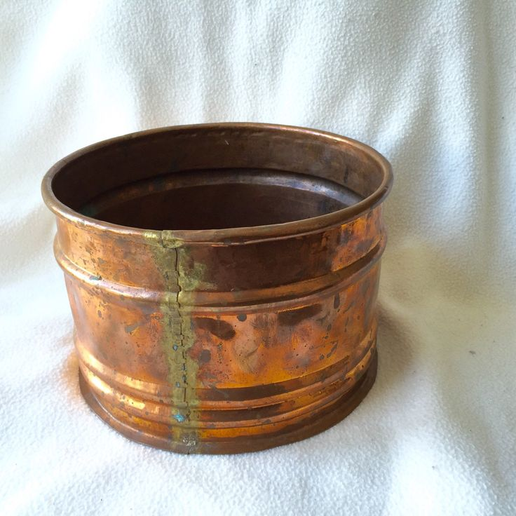 Large COPPER Planter Vintage Planter hand hewn Lovely Copper Patina by StudioVintage on Etsy
