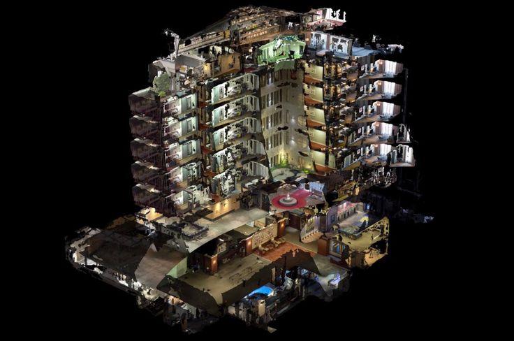 Психоделическое видео с 3D-моделью отеля созданное с помощью 10 тысяч фотографий  http://srt.ru/news-blog/psihodelicheskoe-video-s-3d-modelyu-otelya-sozdannoe-s-pomoshhyu-10-tysyach-fotografij/  Необычный архитектурный проект представляет собой объемную модель здания отеля, сквозь стены которой можно разглядеть интерьер каждой отдельной комнаты.Энтузиасты из команды Oddviz представили архитектурный проект, сделанный на основе реального здания Sofa Hotel в центре Стамбула. Трёхмерная модель…