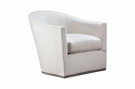 Oatmeal Upholstered Swivel Chair - Mecox Gardens