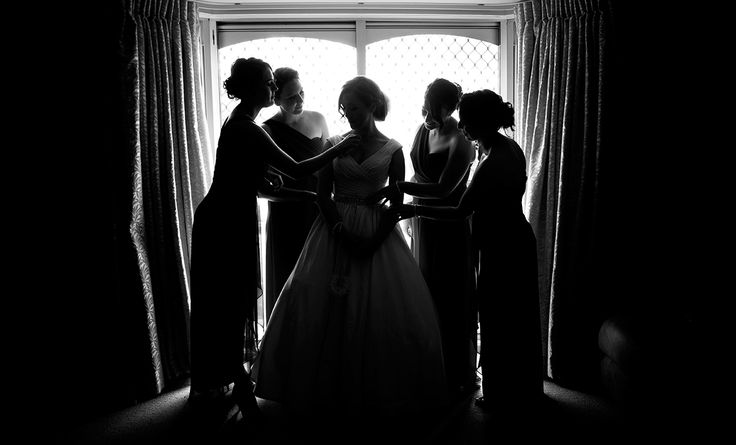 Final preparations on Bride silhouette  Salt Studios| Toowoomba Wedding and Commercial Photography