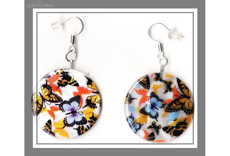 Butterfly Mother of Pearl Shell Coin Bead Earrings