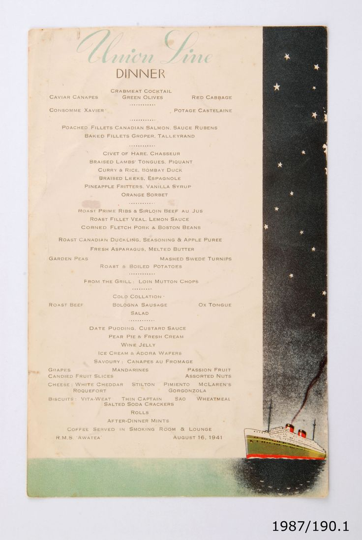 Menu from the RMS Awatea, 16 August, 1941. From the collection of the Air Force Museum of New Zealand.