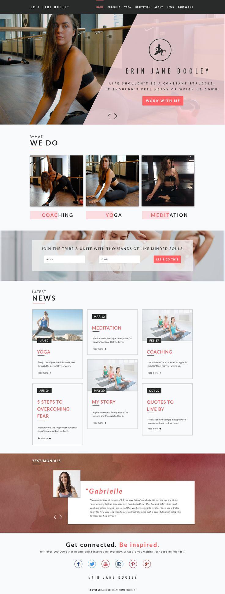 Erin jane dooley Yoga trainer Web Design