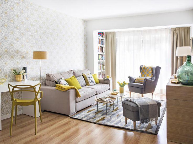Un piso de 68 m² decorado con papel pintado