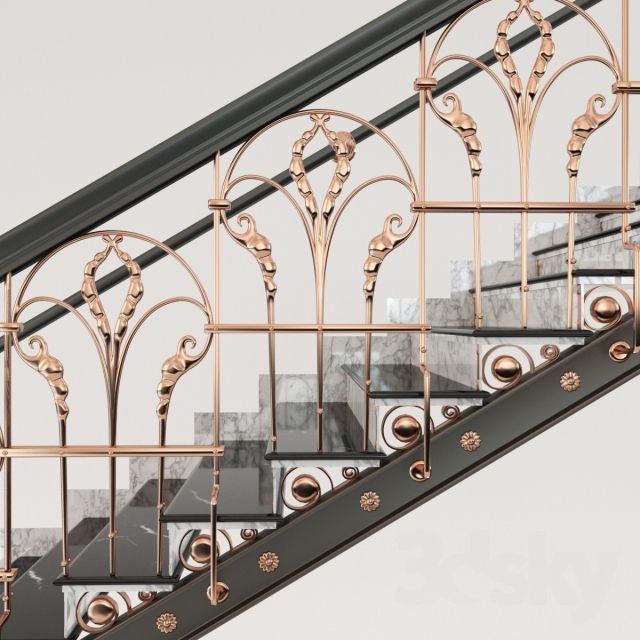 3d models: Staircase - Classic Marble Copper Stairs