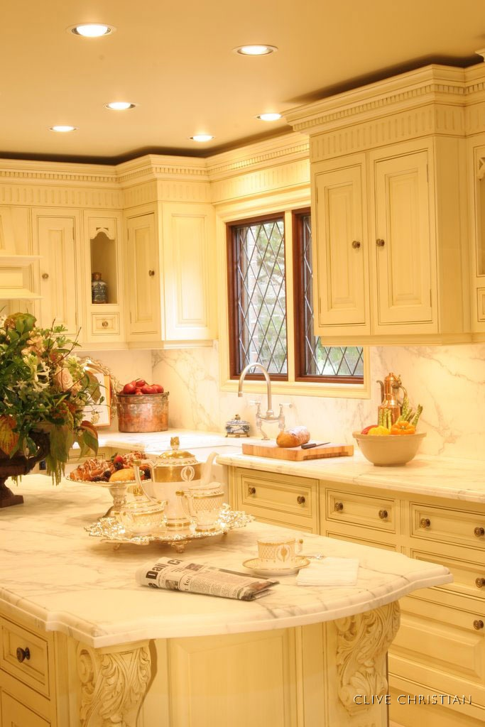 Clive christian victorian kitchen in antique cream home for Butter cream colored kitchen cabinets
