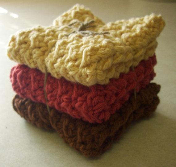Autumn Cotton Crocheted Wash Cloths