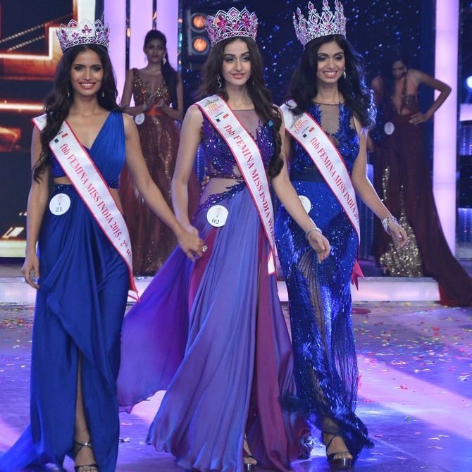 Aditi Arya won fbb Femina Miss India 2015 title and crowned by Koyal Rana,Miss India 2014.Shahid,Kareena,Jacqueline performed live in the coronation night