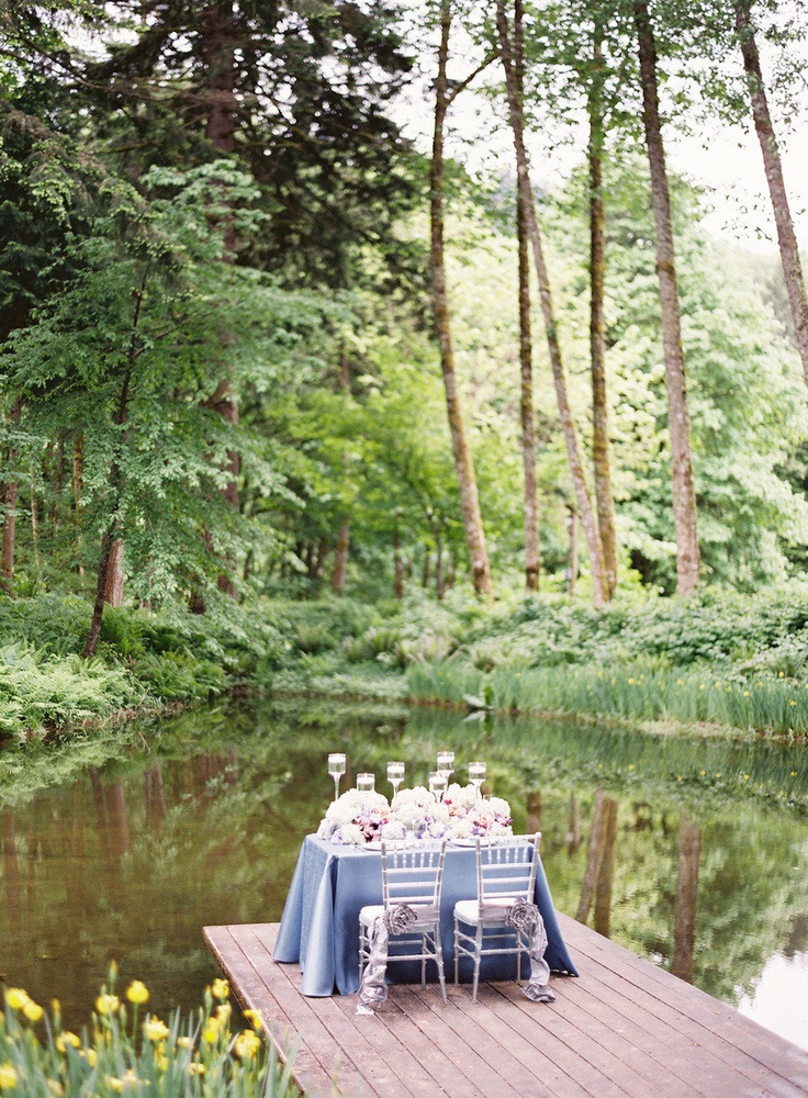 I seriously love this setting at Bridal Veil Lakes in Oregon. Photography By / http://erichmcvey.com,Floral   Event Design By / http://petalosfloraldesign.com