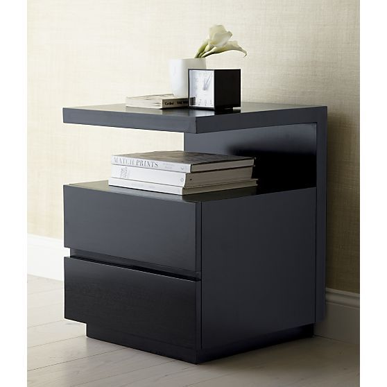 Dawson Grey Wash Nightstand Shelves Drawers And Black