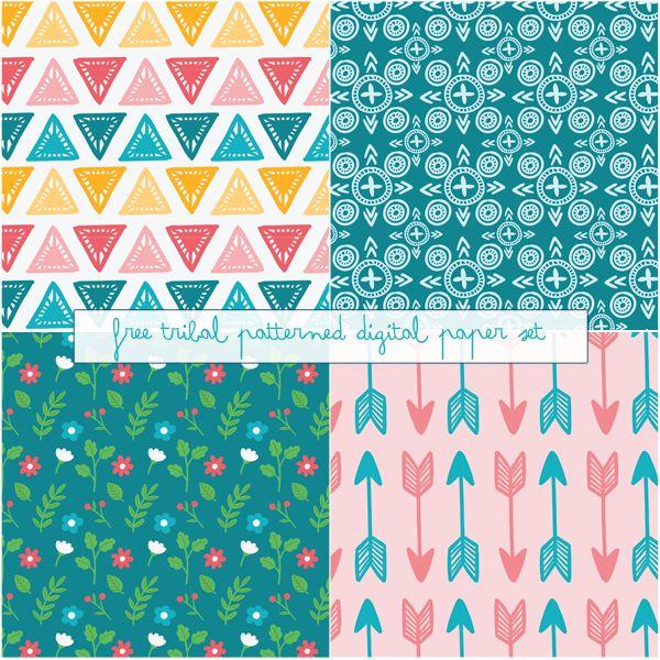 Just Peachy Designs: Free Tribal Patterned Digital Paper
