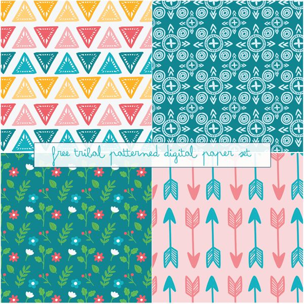 Just Peachy Designs: Free Tribal Patterned Digital Paper