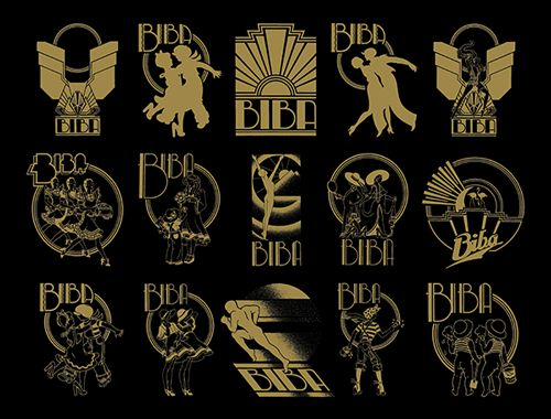 The Biba logos; Each floor, and in some cases each area of each floor had its own identity, and thus its own logo, typeface, letterhead, swing-ticket, letterhead and gift voucher. Steven Thomas design