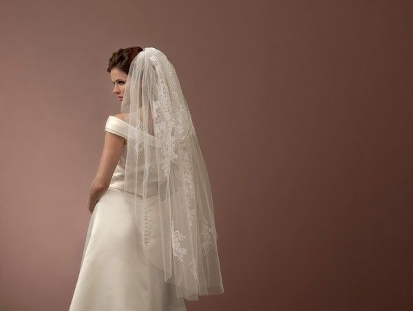 1 tier french lace applique veil by poirier S119-120/1 via TiarasAndTeirs. Click on the image to see more!