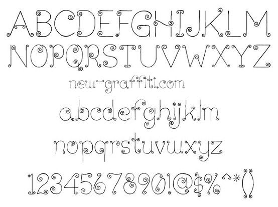 graffiti font style curly lickcurl petite  free download     this font would be cute in a child