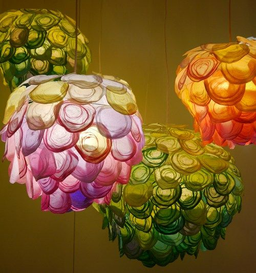 """The lighting series """"Daydream"""" is made of Japanese hand woven paper. Colourful organic shaped sculptures are inspired by blooming flowers in spring.  #light #paper #shade"""