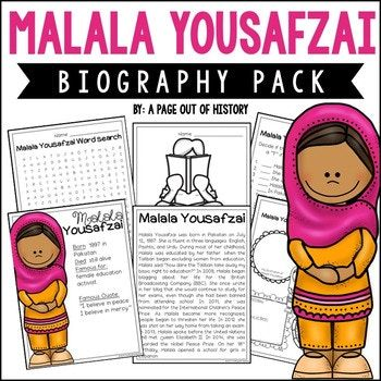 This mini unit about Malala Yousafzai is the PERFECT addition to your social studies curriculum during women's history month! There are a variety of fun activities to do with your students during this unit! The best part? It's NO PREP! Just print, copy, & go!