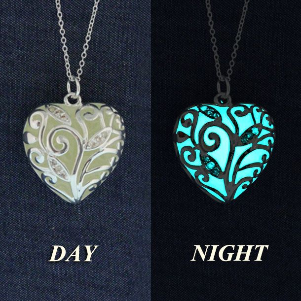 Glow-in-the-Dark Jewelry  Buy today - Ship Tomorrow Aqua Glowing Necklace Glowing Pendant Glow in the Dark Necklace GLOW003 (19.95 USD) by GlowIntoTheNight