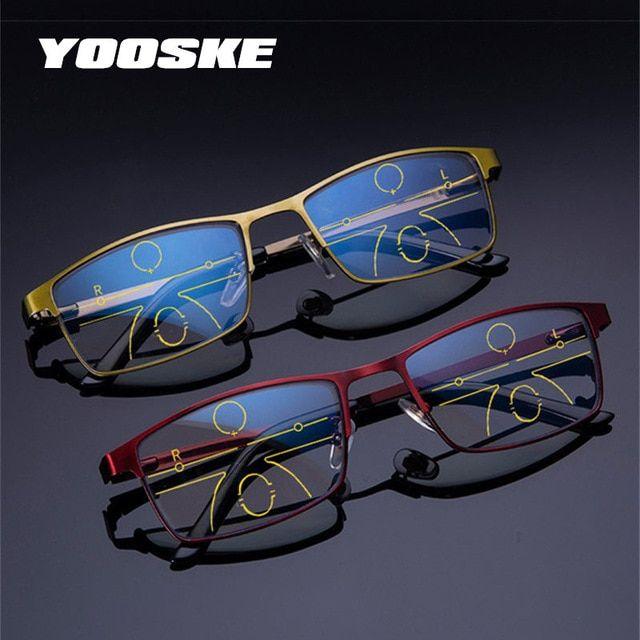 4f6edd2a20c YOOSKE Anti Blue Light Reading Glasses Men Progressive Multifocal Glasses  Women Near Far Sight Alloy Frame Eyeglasses Diopter Review
