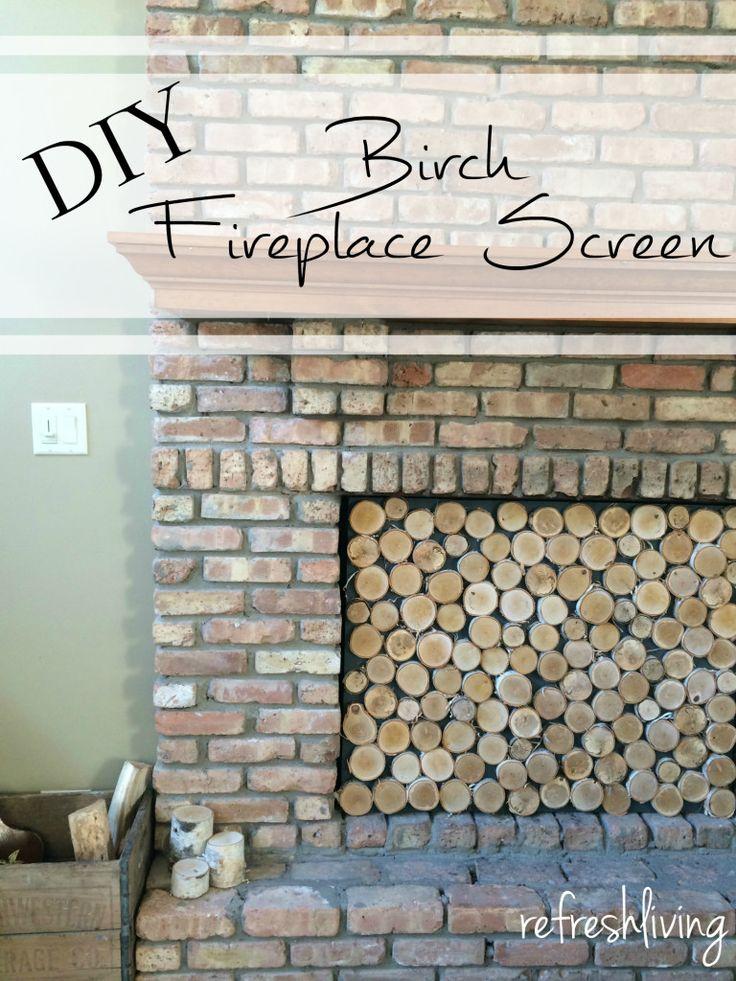 Birch Log Fireplace Screen - Refresh Living