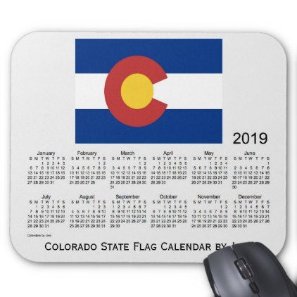 2019 Colorado State Flag Calendar by Janz Mouse Pad - birthday diy gift present custom ideas