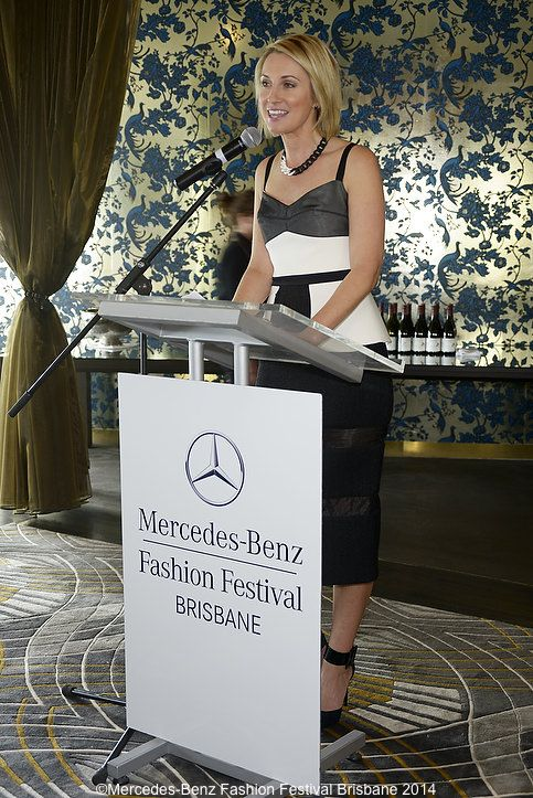 Network Ten's Georgie Lewis hard at work as mc for the lunch
