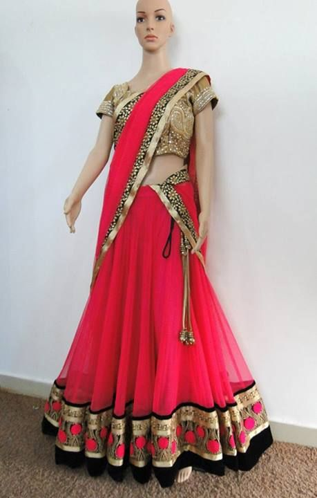 Pink Half and Half Lehenga Saree