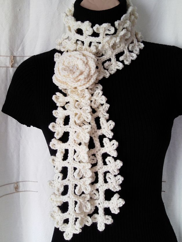 Crocheted Scarves - CROCHET SCARF/ NECKWARMER with Crochet Flower B ...