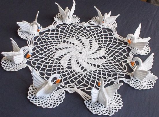 too many crochet swan doilies - all with the patterns!