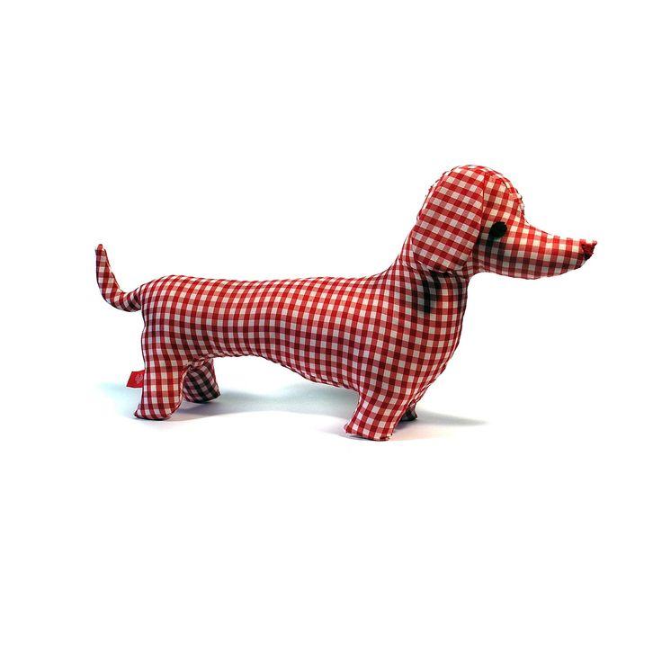 Muñecos de Trapo perro salchicha a cuadros rojo