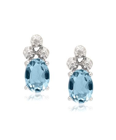 Another great find on #zulily! Blue Topaz & Diamond Oval Stud Earrings #zulilyfinds